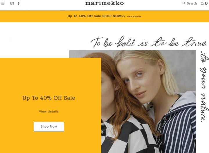 Marimekko landing page