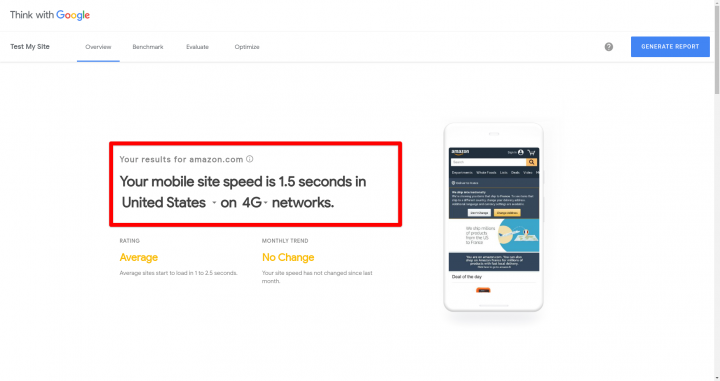 TestMySite google mobile performance metrics