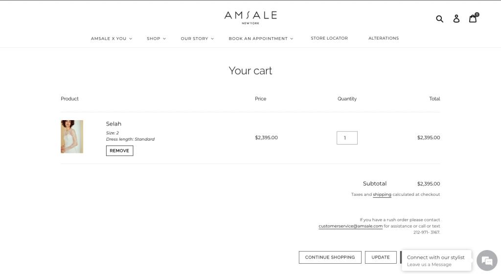 Amsale check-out