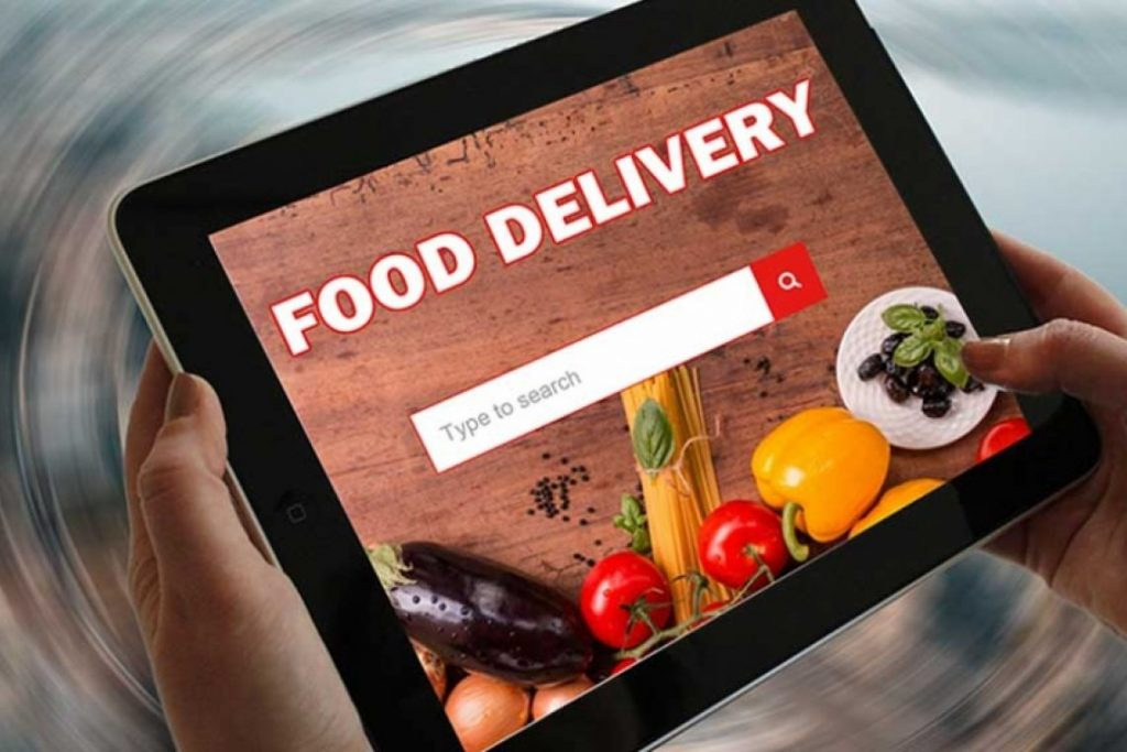 Food delivety website on teblet
