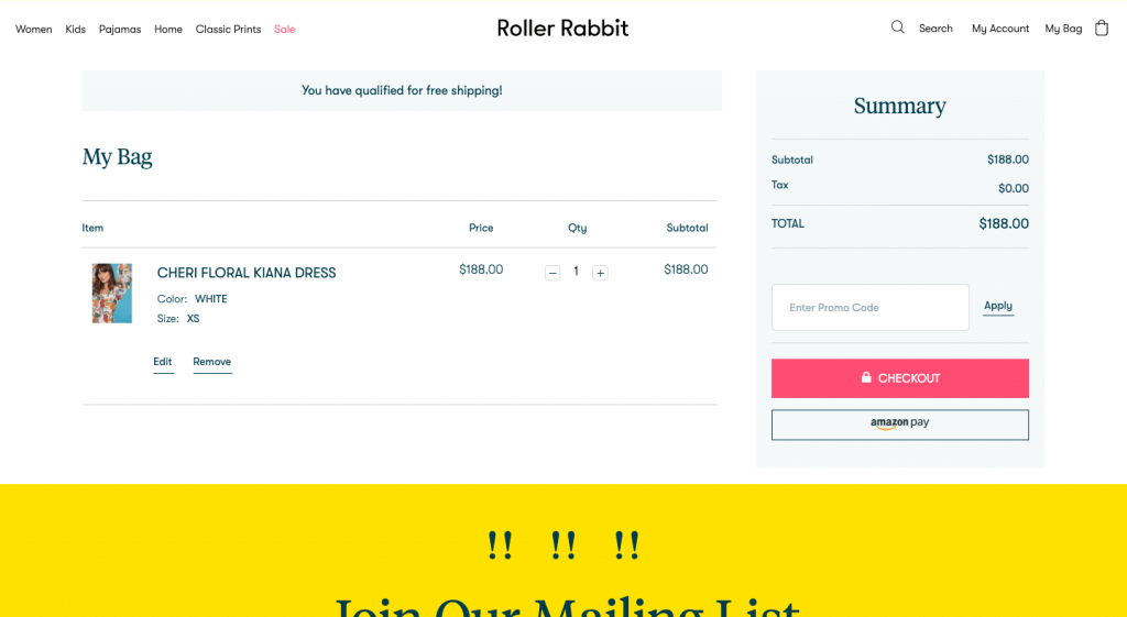 Roller Rabbit check-out