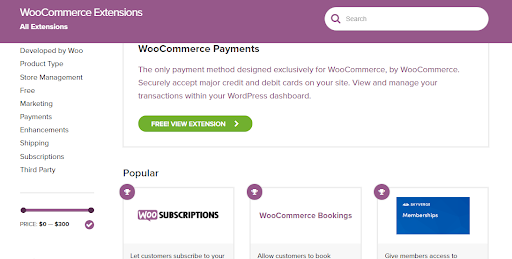 WooCommerce Extensions Marketplace
