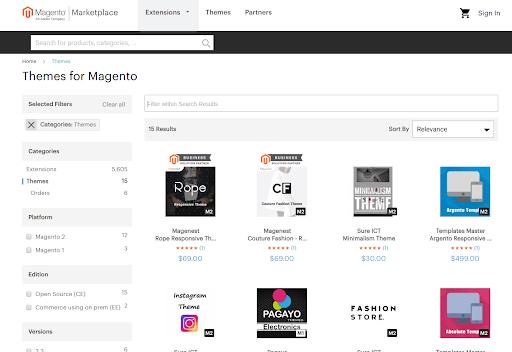 Magento themes marketplace