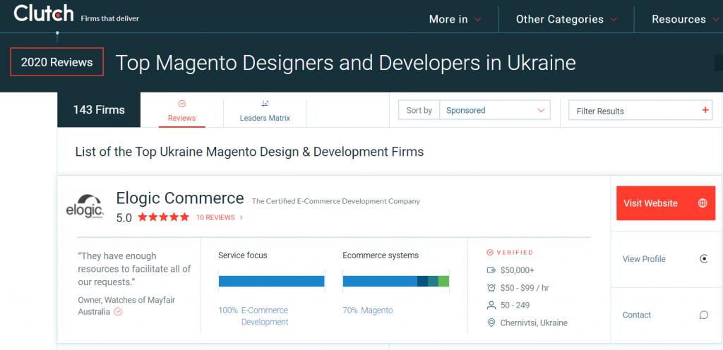 Find a Magento partner: Elogic on Clutch