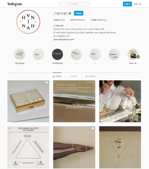 An Instagram jewelry store j.hanna