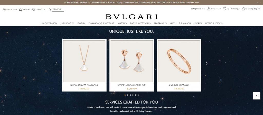 Bulgari website layout