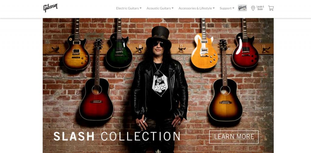 Gibson website screenshot