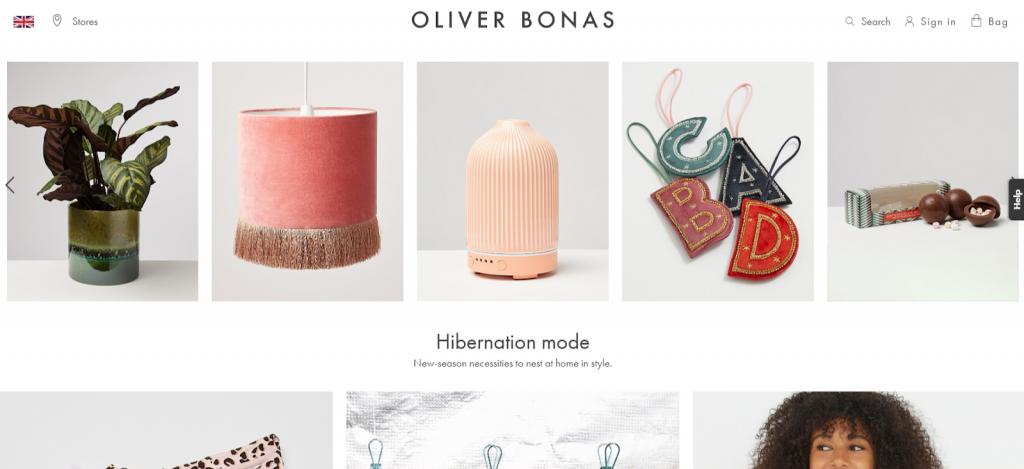Oliver Bonas website screenshot