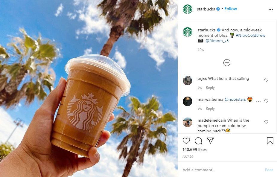 Social media examples for selling food