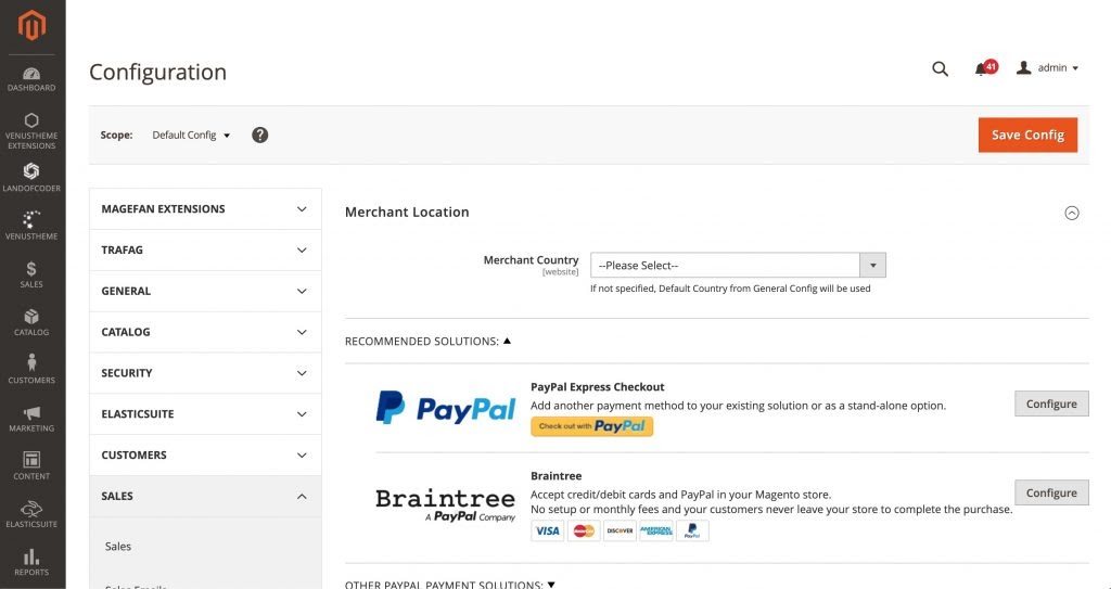 Magento payment configuration panel