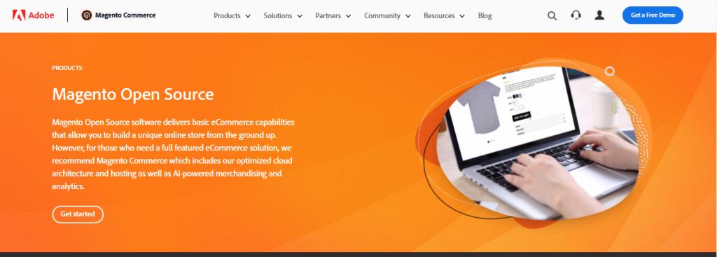 Magento Open Source homepage screenshot.
