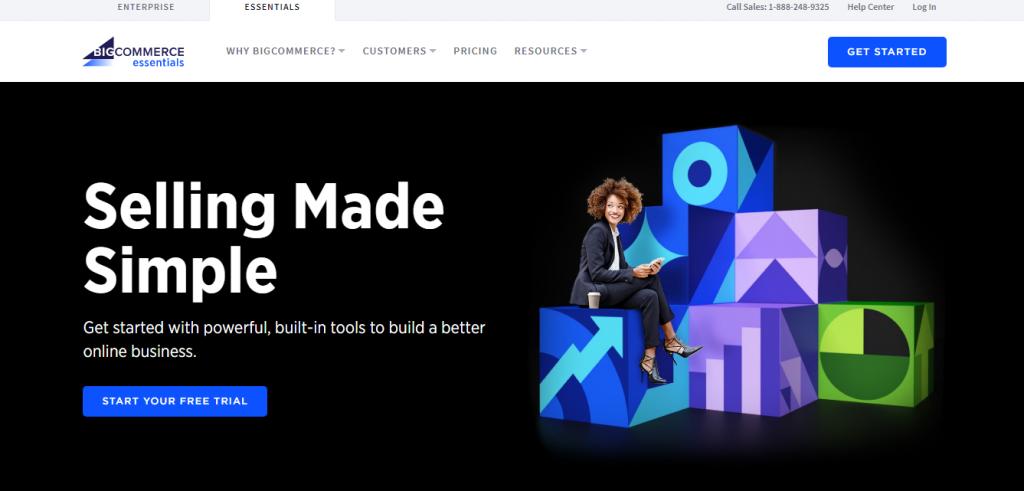 BigCommerce homepage screenshot.