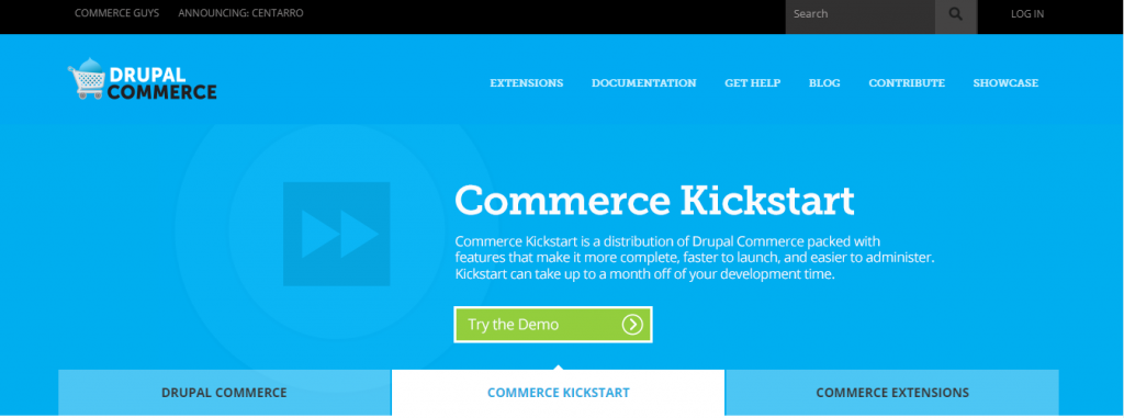 Drupal Commerce homepage screenshot.