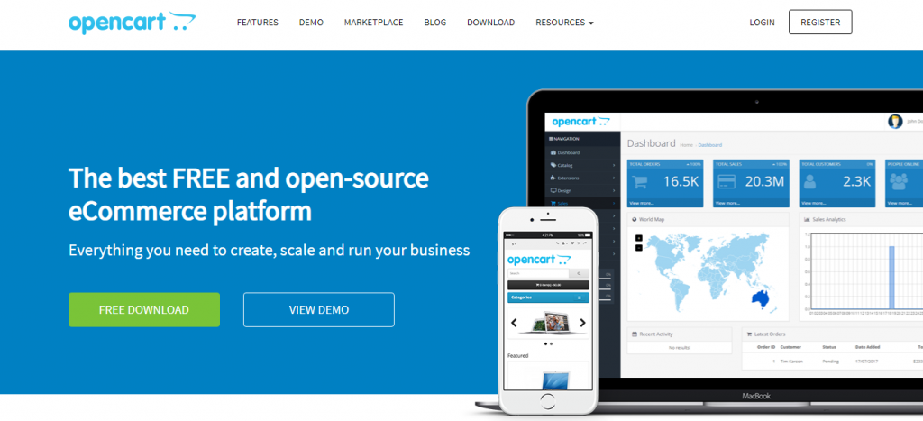 Opencart homepage screenshot.
