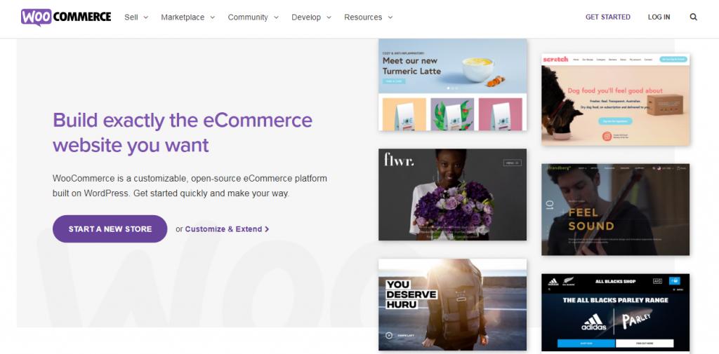 WooCommerce homepage screenshot.