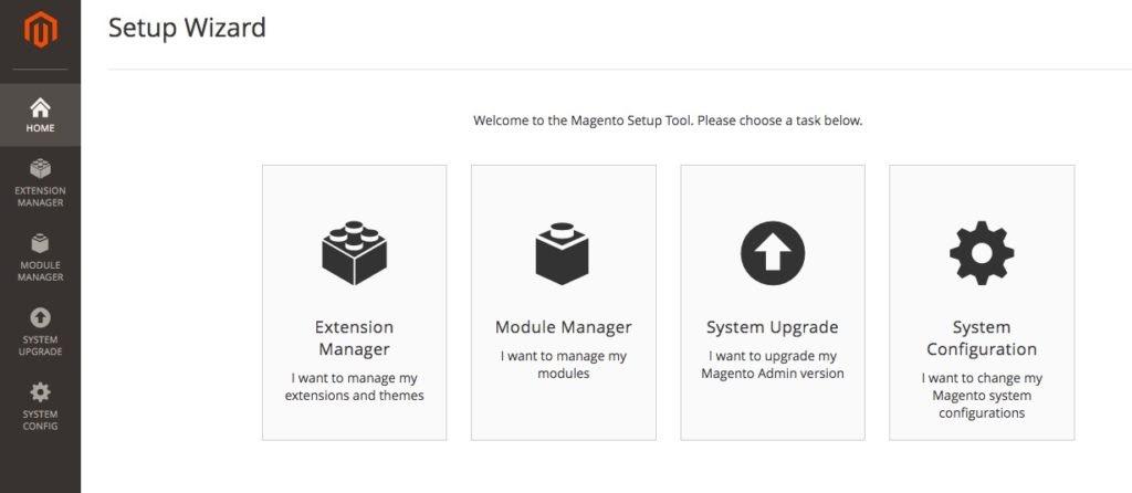 Magento Setup Wizard tool with four administration tasks.