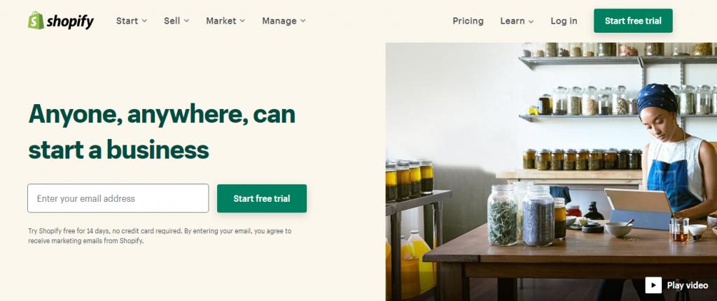 Shopify homepage screenshot.