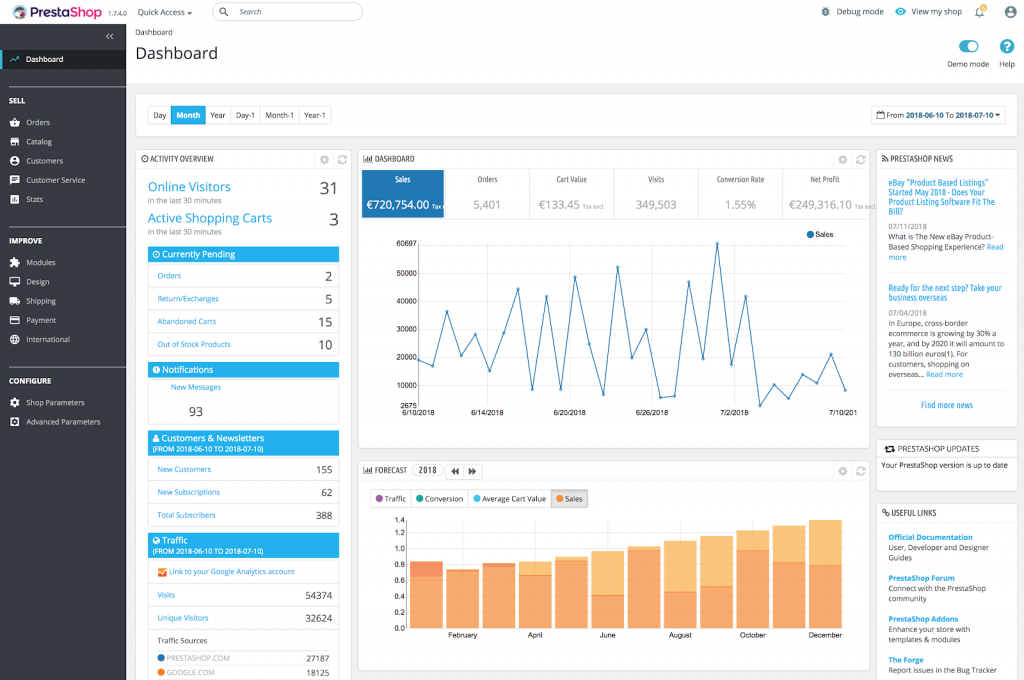 PrestaShop admin interface
