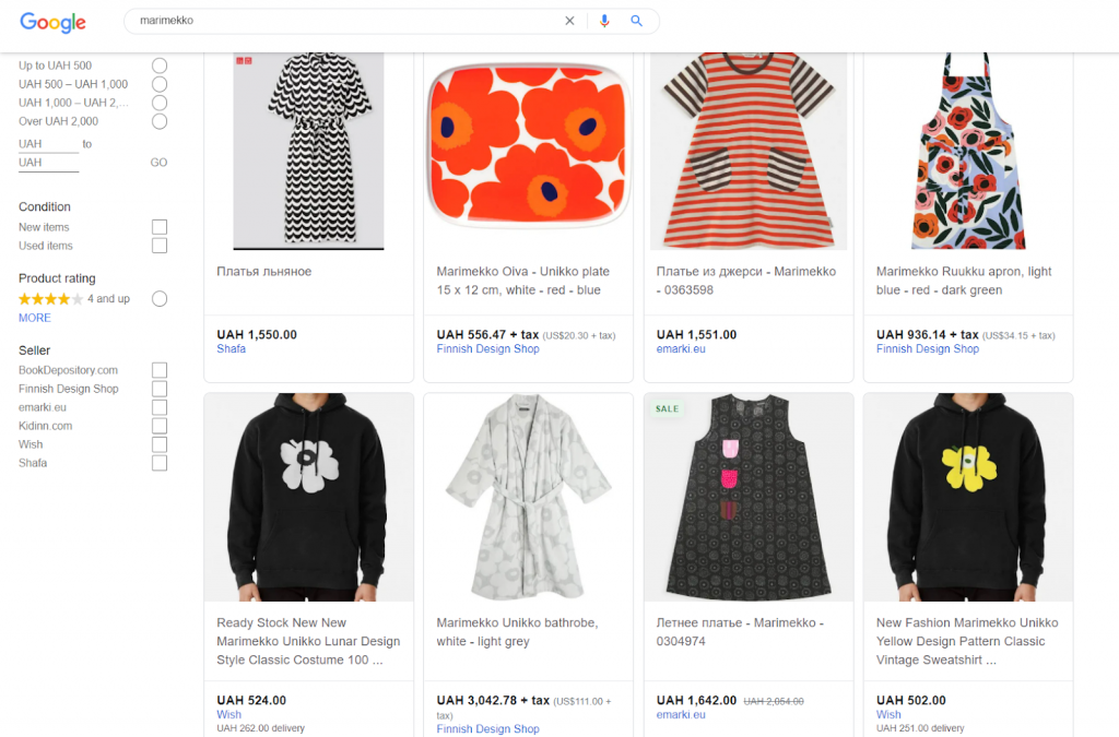 Google Shopping feed with Marimekko search inquiry.