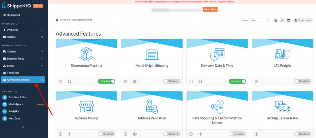ShipperHQ advanced features menu